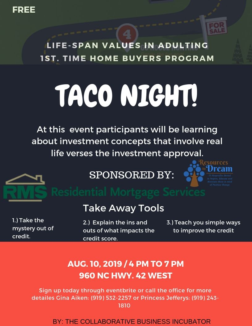 LIFE-SPAN VALUES IN ADULTING: FIRST TIME HOME BUYERS PROGRAM TACO NIGHT